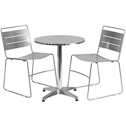 23.5-inch Round Aluminum Indoor-Outdoor Table with 2 Metal Stack Chairs, Aluminum silver
