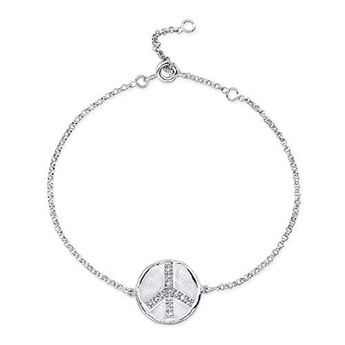 Victoria Kay Sterling Silver Diamond Accent Peace Disk Fashion Bracelet (J-K, I2-I3)
