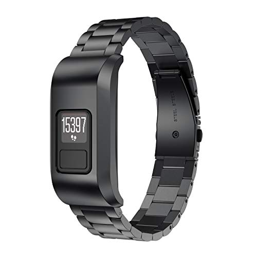 ANCOOL Compatible with Vivofit 3 Bands Stainless Steel Metal Link Watch Band Replacement for Vivofit 3 Tracker, Black
