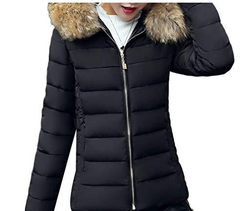 EKU Women Winter Hooded Padded Jacket Down Coats Warm Parka Outwear Black