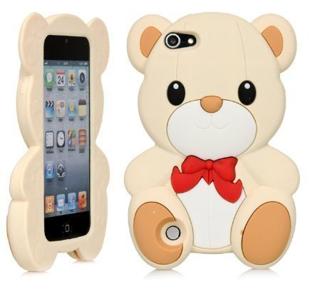 iPod Touch 5 Case,Apple iPod Touch 6 Teddy Case,Bat King 3D Cute Cartoon Teddy Bear Soft Silicon Gel Rubber Case Cover Skin for Apple iPod Touch 5/Touch 6(Beige Teddy) (Ipod Case Starbucks)