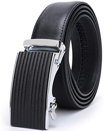 (Beltox Men's Dress Leather Ratchet Slide Belts with Removable Automatic Alloy Buckle 4MM Thick 1 3/8
