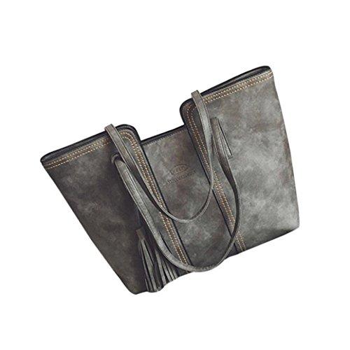 Shoulder Bags,TUDUZ Large Capacity Women's Leather Tassels Handbag Shoulder Messenger Bag Ladies Satchel Tote Bags Crossbody Bags Shoulder Bags Travel Bags Beach Bag Waist Bag Gray