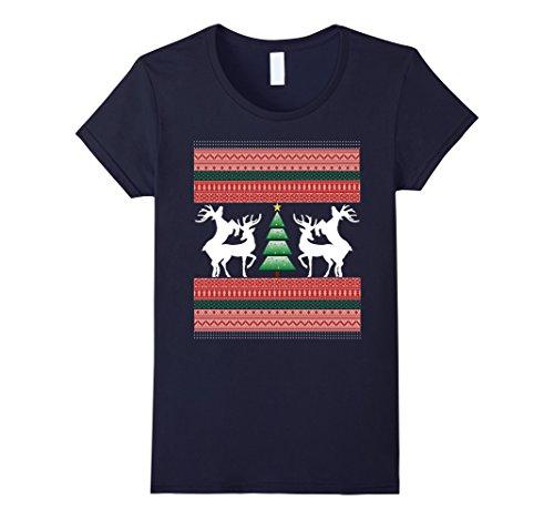 Womens FRISKY CHRISTMAS REINDEER T Shirt-TREE-TACKY SWEATER TEE Large (Tacky Christmas Outfits)