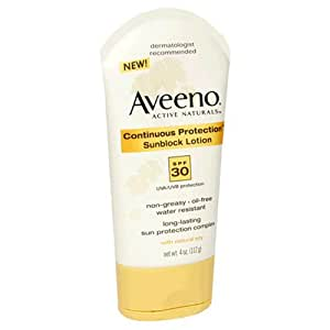 Aveeno Active Naturals Continuous Protection Sunblock Lotion, SPF-30, 4-Ounce Tubes (Pack of 2)