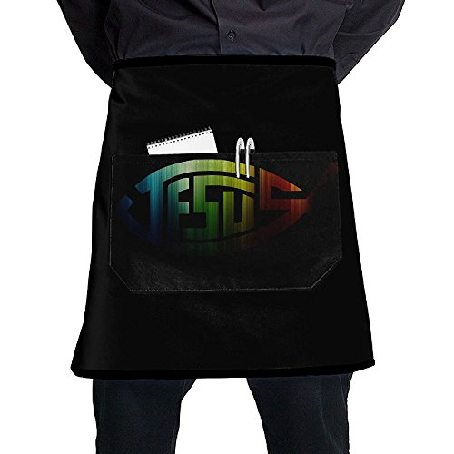 SHENGQUN Jesus Symbol Christian Fish Men And Women Kitchen 3D Apron For Cooking, Baking, Crafting, Gardening, BBQ-Navy & Cream - Bbq Christian Apron