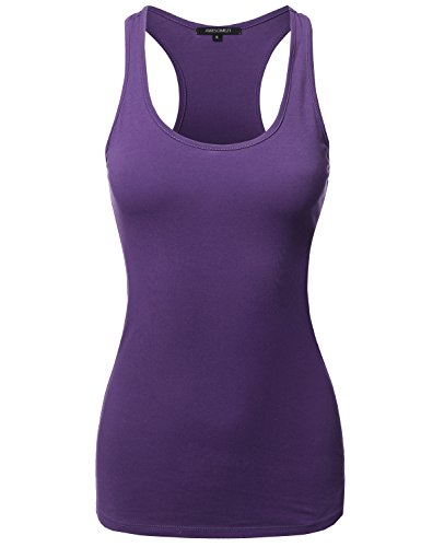 (Solid Basic Sleeveless Racer-Back Cotton Based Tank Top Purple Size M)