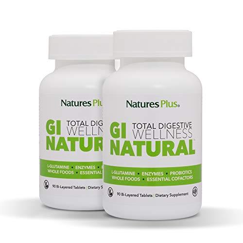 NaturesPlus GI Natural Total Digestive Wellness (2 Pack) - 90 Vegetarian Tablets, Bilayer - Natural Gut Health Supplement, Probiotics, Prebiotics, Enzymes - Gluten-Free - 60 Servings