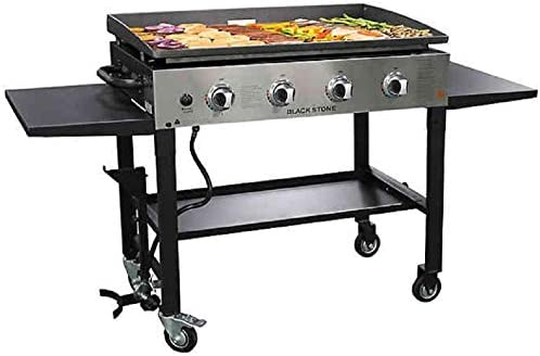 Blackstone 1565 36 Inch Outdoor Propane Gas Griddle Stainless Steel Black, 4 Independent Burners, 720 Sq In Flat Top Cooking Surface, Grease Can, Collapsible, Portable, Professional Grill, New Model