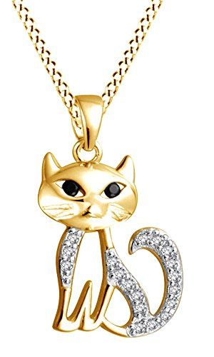 AFFY Cute Kitty Cat Cubic Zirconia & Simulated Black Onyx Pendant Necklace In 14K Yellow Gold Over Sterling Silver