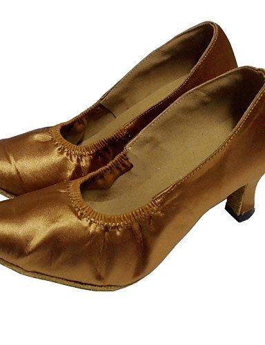 ShangYi Customized Women's Closed Toe Satin Dance Shoe Customized Heel Ballroom Shoe for Women White O7JEsnMM