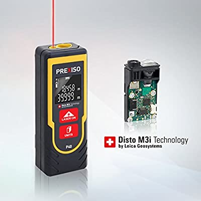 PREXISO Digital Laser Distance Meter 131FT 40M Handheld Tape Diastimeter with LCD Backlight by Leica Disto M3i Technology