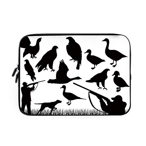Hunting Decor Laptop Sleeve Bag,Neoprene Sleeve Case/Silhouettes of Wild Animals and Huntsman Grouse Mallard Duck Eagle Grass Decorative/for Apple MacBook Air Samsung Google Acer HP DELL Leno