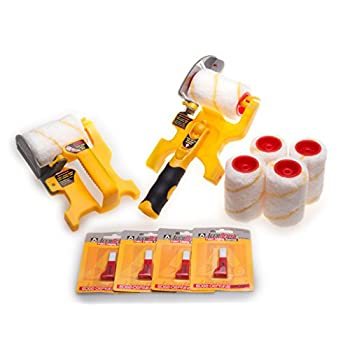 Image of Home Improvements Accubrush XT Pole Mountable Paint Edger with Roller and Adjustable Brush, Handheld MX Paint Edger, Four Refill Rollers, Four Refill Brushes Combo Kit