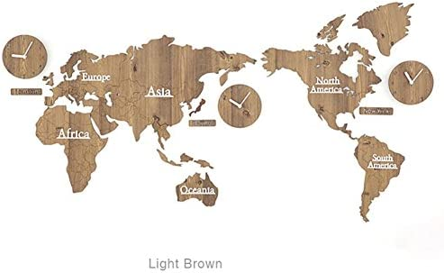 guazhong MCC Creative Home Decoration World Map Large Wall Clock Simple DIY Personalized Art Wooden 3 Country Hanging Clock, Light Brown, 13763cm