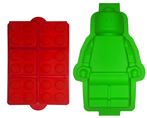 TYH Supplies set of 2 Extra Large Candy Molds For Lego Lovers Chocolate Molds Ice Cube Molds Silicone Baking Molds Premium Silicone Molds - Building Blocks and Robot (2)