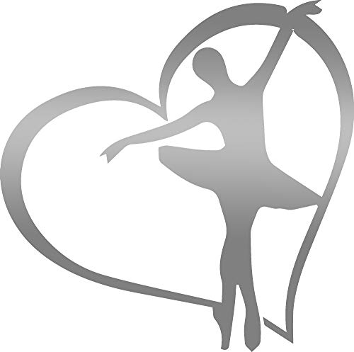 - ANGDEST Ballerina Heart (Metallic Silver) (Set of 2) Premium Waterproof Vinyl Decal Stickers for Laptop Phone Accessory Helmet Car Window Bumper Mug Tuber Cup Door Wall Decoration