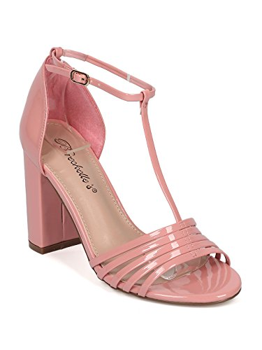 - Women Patent Leatherette Open Toe T-Strap Block Heel Sandal HA17 - Pink Patent (Size: 8.5)