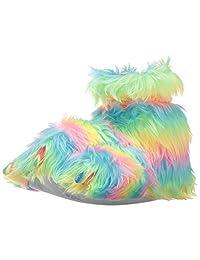 Trimfit Girls Rainbow Plush Fuzzy Paw Slippers Moccasin