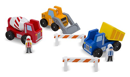 [Melissa & Doug Construction Vehicle Wooden Play Set (8 pcs)] (Girl Construction Worker Costumes)