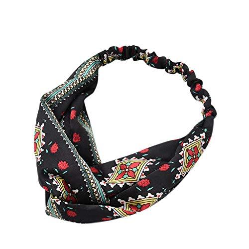 hositor Elastic Headbands, Boho Floral Knot Headband Elastic Wrap Turban Hair Band Yoga Sports Ladies ()
