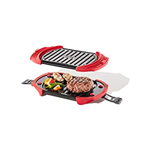 Lekue Microwave Grill, Sandwich Maker, Panini Press, 10 In x 5.7 In, Red