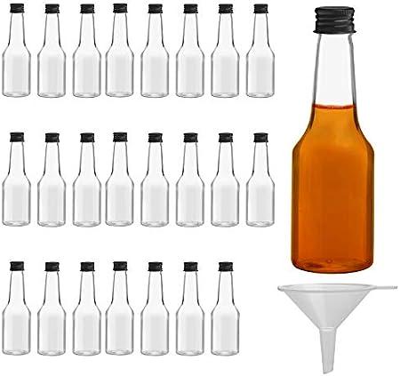 BELLE VOUS Mini Botellas de Licor (Pack de 24) - Botellas Pequeñas de Plástico 100 ml Vacías - Tapa Negra de Rosca y Embudo - Botellas Reutilizables, Fácil Llenado - Mini Botella para Bodas y Fiestas
