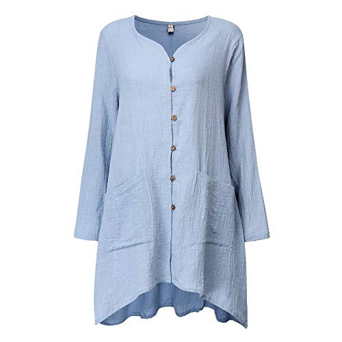 ICE Cream Women Winter Button Pocket Solid Cotton and Linen Long Sleeve Casual Long Cardigan Coat ()