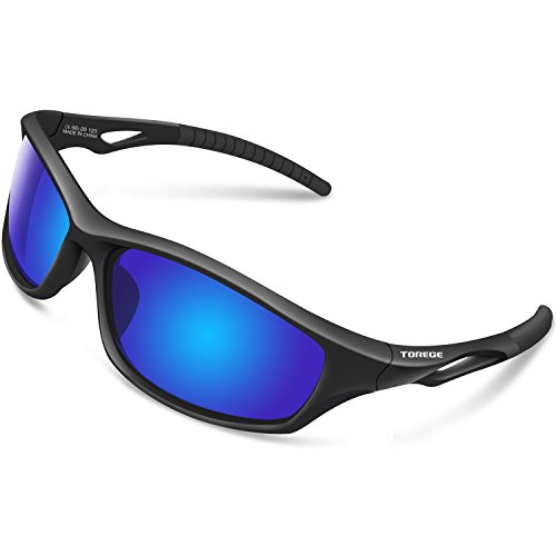 (TOREGE Polarized Sports Sunglasses for Men Women for Cycling Running Fishing Golf TR90 Unbreakable Frame TR010-1 (Black&Black Tips& Blue Lens))