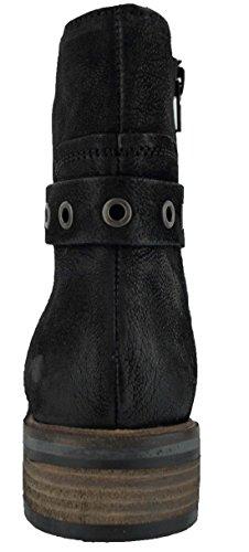 360 Damen Echt-Leder Biker Boots Stiefeletten Kurzschaft-Stiefel Gefüttert Mila Schwarz
