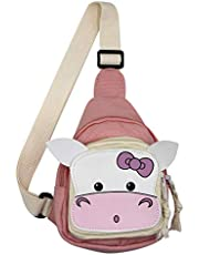 Sling Bag for Kids, Crossbody Chest Backpack, Canvas Satchel Daily Sports Shoulder Bag for Teens Girls, Cute Cow, Pink