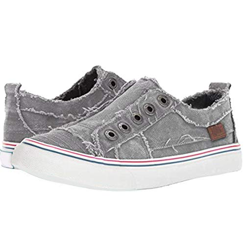 - Athlefit Women's Distressed Slip On Sneakers Casual Eyelets Canvas No Lace Tennis Shoes EU43 Grey
