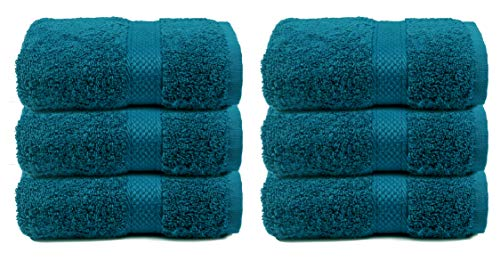 Hand Towels 16x28 Teal - 100% Pure Ringspun Cotton - Luxurious Rayon Trim - Ideal for Daily Use - Premium Quality Luxury Cotton Absorbent and Super Soft Towels, Each Towel Weighs 580 GSM(Set of 6)