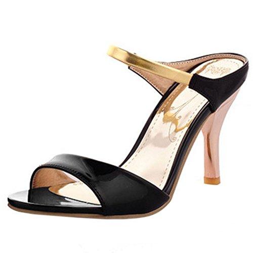 Melady Mode Femmes Sandales Black Talons Mules rqwnrZT7x