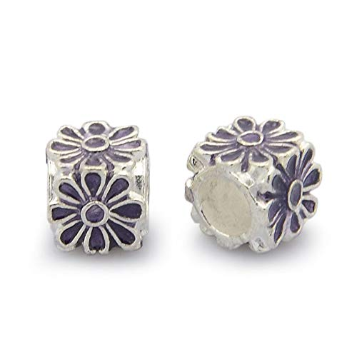 Pandahall 20pcs Alloy Enamel European Cube Beads 8x8x8 Silver Tone Large Hole Flower Beads for Jewelry Making European Bracelets Accessories Finding Supplies (Indigo)