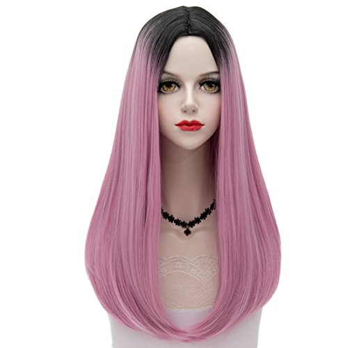 Black Roots Mixed Light Lilac Ombre Long 24 Inches Natural W