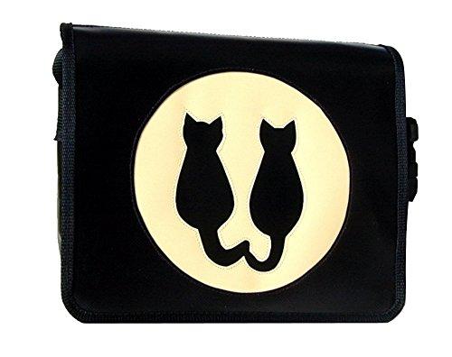 Designer Tasche aus Plane Katzen-Motiv Mondkatzen Schwarz/Elfenbein H 20, B 26, T 8 cm