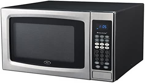 Oster OGZE1304S 1100W Sensor Microwave Oven, 1.3 cu. ft., Stainless Steel/Black