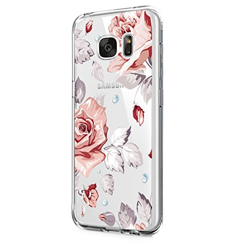 Case for Galaxy S6 Edge Plus Case, Floral Printed Flower Clear Slim TPU Bumper Protective Cover for Galaxy S6 Edge Plus (4)