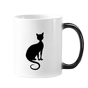 Gato negro elegante figura animal art silueta taza de calor sensible cambio de color taza Morphing café con leche de regalo con asas 350ml