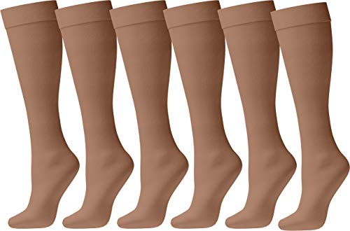 Lycra Opaque Stockings - Womens Nylon Dress Socks, 6 Pairs Ladies Trouser Sock, Soft Sheer Knee High Opaque Spandex (Beige/Nude)