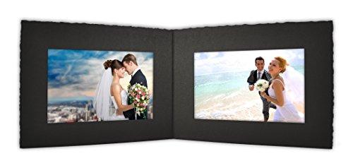 Photo Folder Frame - Golden State Art Cardboard Photo Folder For Double 6x4 Photo (Pack of 50) PF043 Black Color (Black)