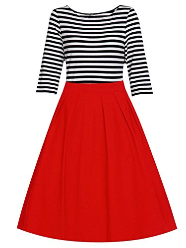 Women's Cotton Patchwork 1950s Vintage Stripe 3/4 Sleeve Party Swing Dress Black Red S (Sweetheart Sailor Adult Womens Costume)
