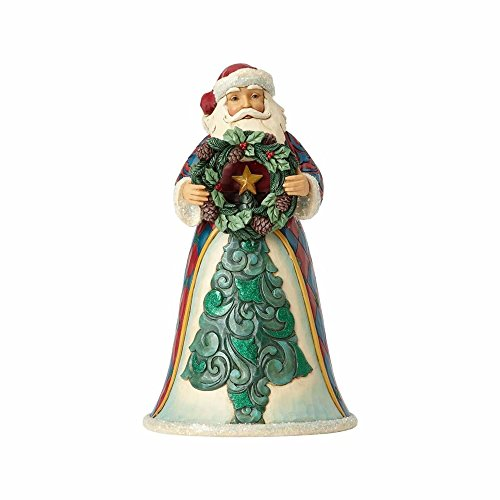 (Enesco Jim Shore Heartwood Creek Winter Wonderland Santa with Wreath Stone Resin, 10