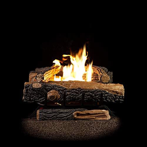 Emberside by SureHeat Sure Heat Mountain Vernon Oak Vent Free Dual Burner Log Set for Liquid Propane Fueled Fireplace, 24-Inch