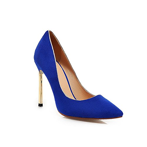AdeeSu Womens Sequin Slip-Resistant Smooth Leather Solid Suede Pumps Shoes SDC03614 Blue tAY2lvgb