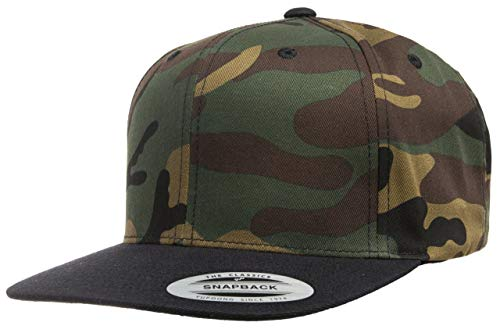 - Flexfit/Yupoong Premium Classic Snapback Hat | Flat Brim, Adjustable Ballcap w/Hat Liner (Green Camo/Black)