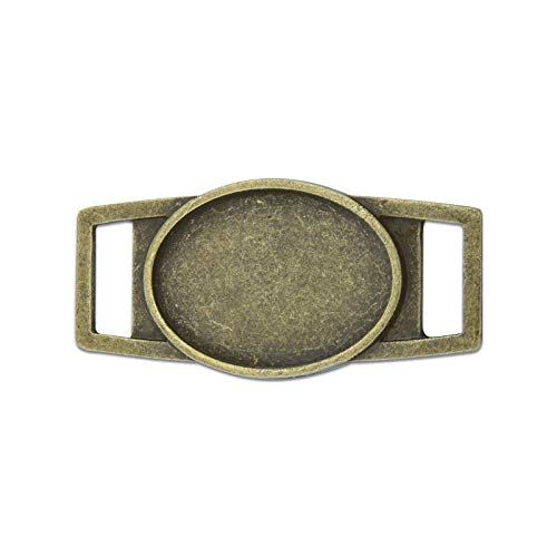 FidgetKute 18x25mm Oval Shoelace Paracord Charm Link Connector Trays Frame Sliders 20 M193 Antique Bronze