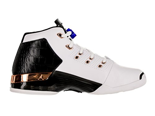 Nike Jordan Herren Air Jordan 17 + Retro Basketballschuh Weiß / Metallic Kupfer Münze-schwarz-Sport Royal Blue