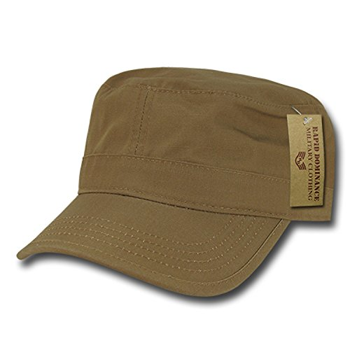 Coyote Plain Solid Blank Army GI Military Flat Cotton Cadet Castro BDU Ripstop Patrol Cap Hat ()